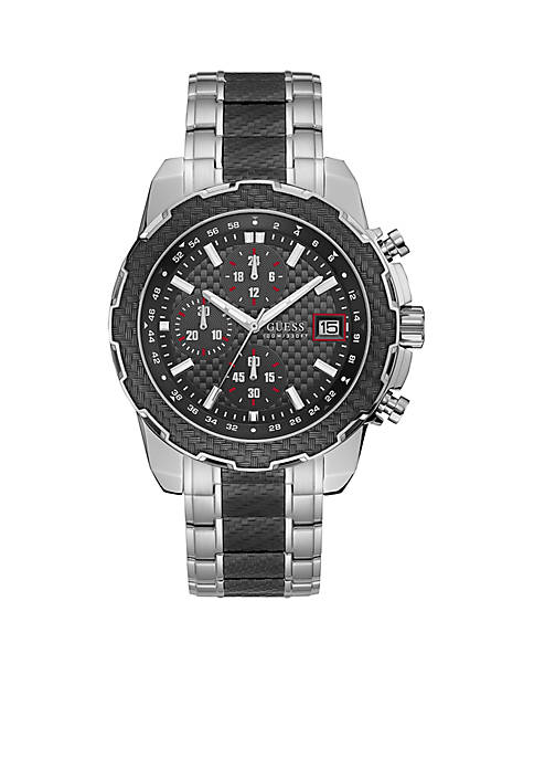 Mens Stainless Steel Black Chronograph Sport Watch
