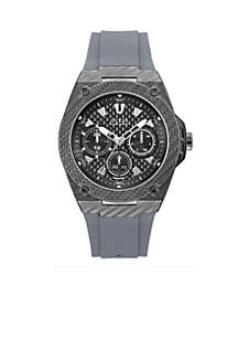 Textured Gunmetal And Grey Silicone Strap Sport Watch