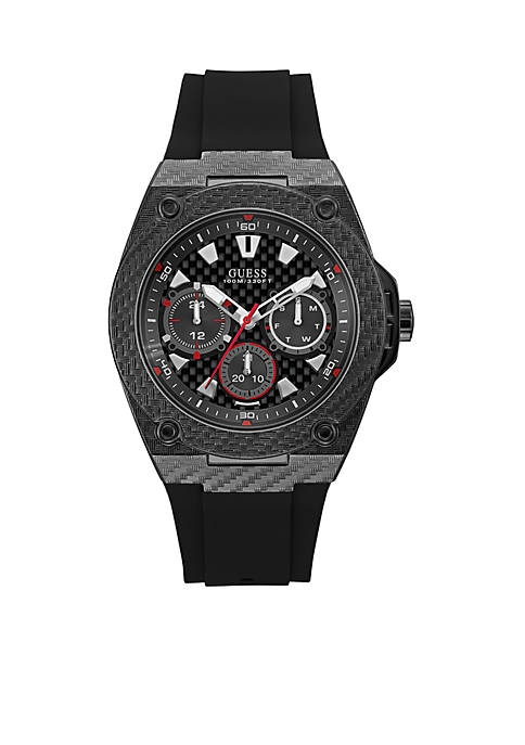 Mens Black Ionic Plating Textured Multi-function Silicone Strap Watch