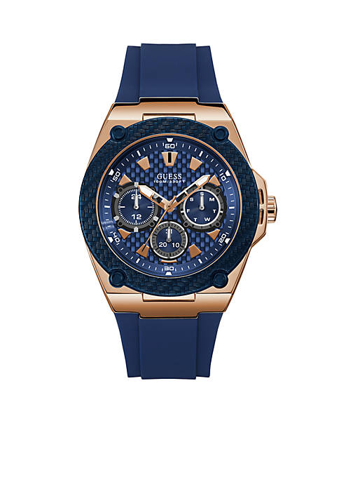 GUESS® Blue And Rose Gold-Tone Multifunction Watch