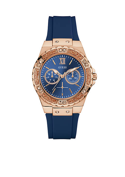 GUESS® Rose Gold-Tone Blue Multifunction Watch