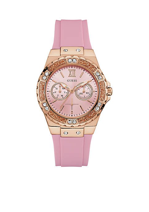 GUESS® Rose Gold-Tone Limelight Crystal Sport Watch