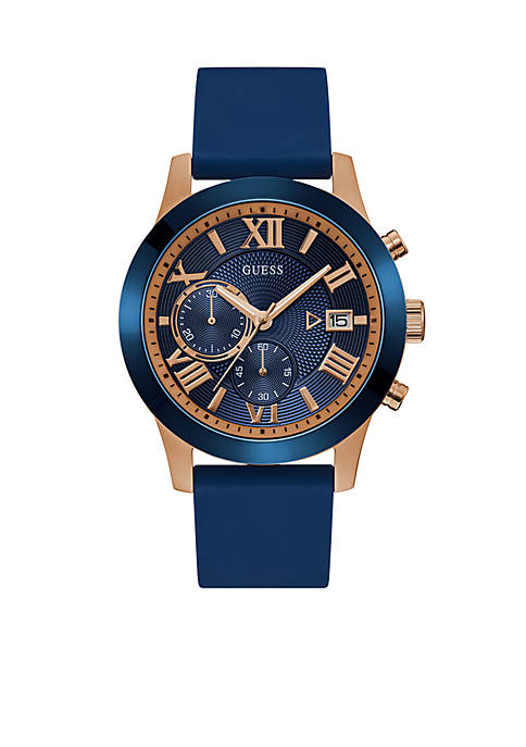 GUESS® Rose Gold-Tone Blue Classic Style Chronograph Watch