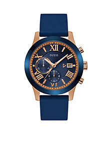 Rose Gold-Tone Blue Classic Style Chronograph Watch