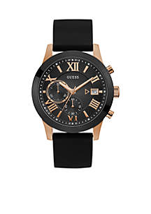 Black and Rose Gold-Tone Multifunction Watch