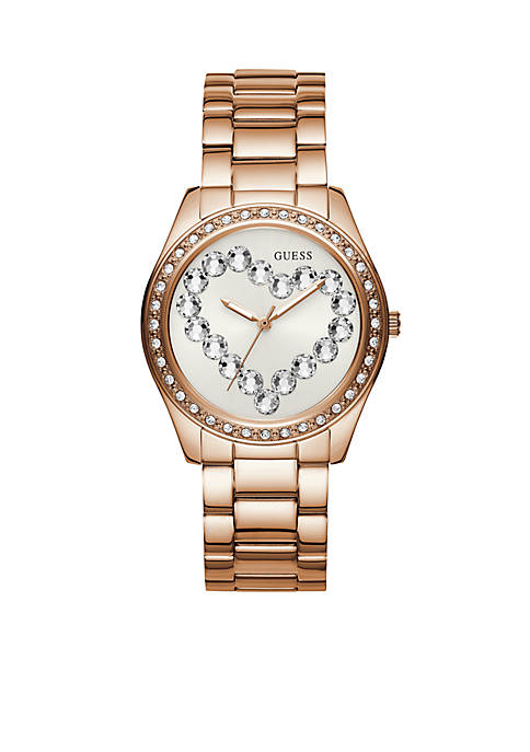 Womens Rose Gold-Tone Love Affair Opulent Crystal Heart Watch