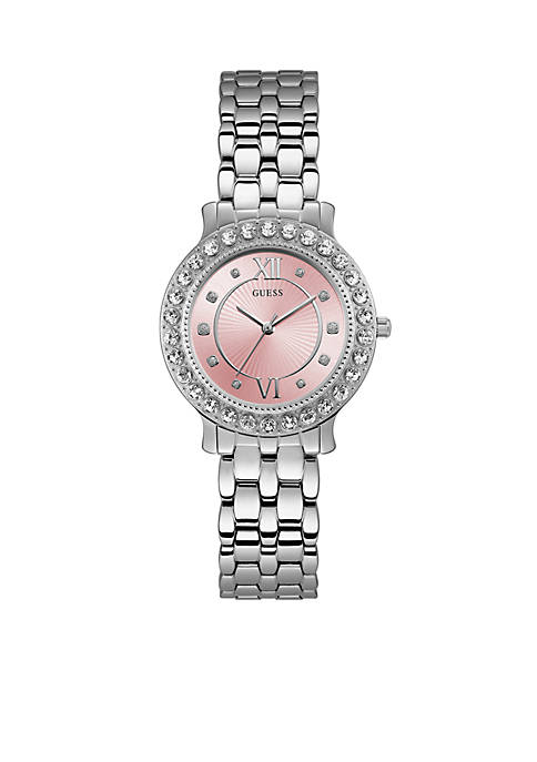Silver-Tone And Pink Petite Crystal Watch