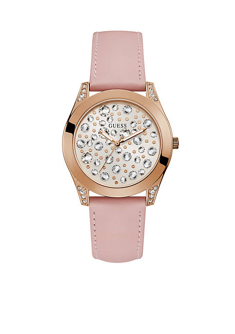 GUESS® Rose Gold-Tone And Pink Crystal Leather Watch