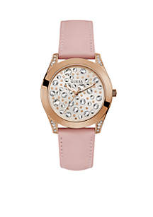 Rose Gold-Tone And Pink Crystal Leather Watch