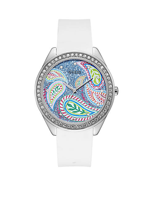 Silver-Tone And White Silicone Watch