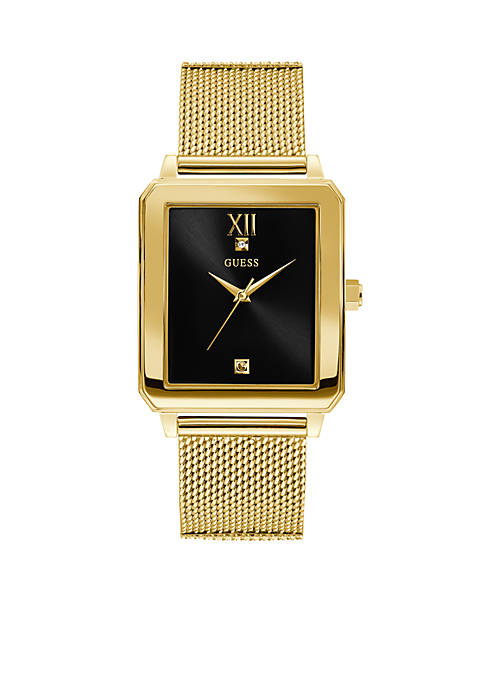 GUESS® Gold-Tone and Black Rectangular Watch