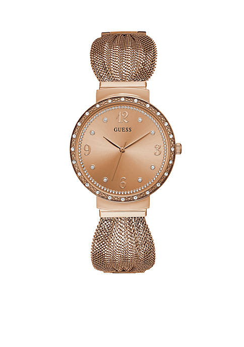 Crystal Accent Rose Gold-Tone Steel Mesh Bracelet Watch