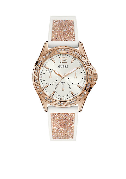 GUESS® Rose Gold-Tone And White Silicone Strap Watch