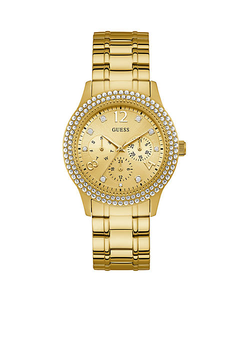 Womens Gold-Tone and Crystal Multifunction Watch