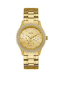 Women's Gold-Tone and Crystal Multifunction Watch