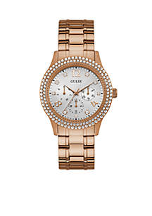 Women's Rose Gold-Tone and Crystal Multifunction Watch