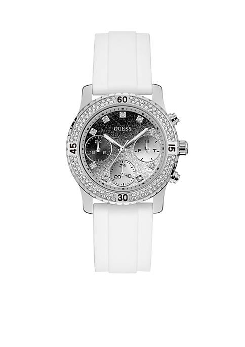 Black And Silver-Tone Glitter Dial Watch