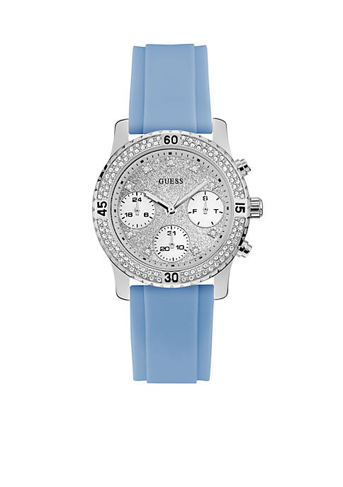 Silver-Tone And Blue Silicone Watch