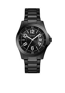 Black Ionic Plated Steel Watch With Date