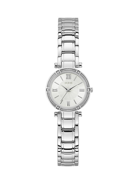 GUESS® Womens Polished Steel and Crystal Bracelet Watch
