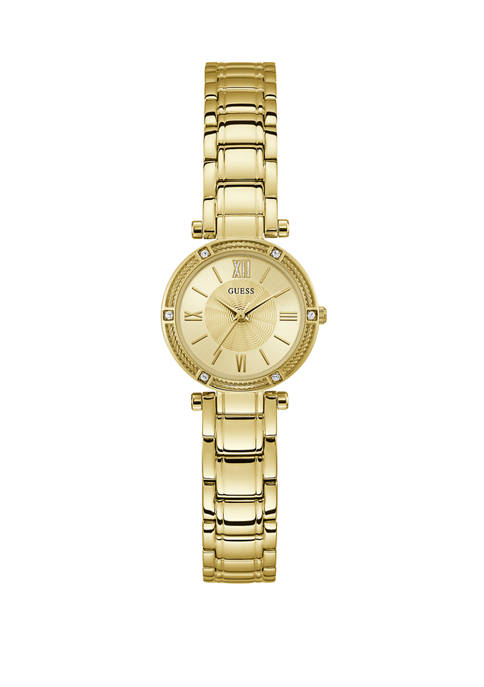 GUESS® Womens Gold Tone Crystal Bracelet Watch