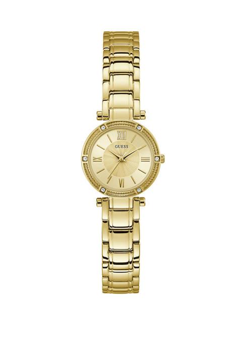 Womens Gold Tone Crystal Bracelet Watch