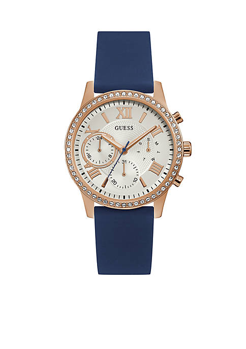 GUESS® Rose Gold-Tone And Navy Silicone Strap Watch