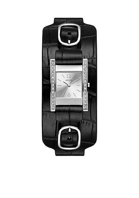 Silver-Tone Rectangular Black Cuff Watch