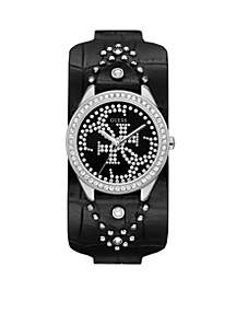 Iconic Logo Black Leather Cuff Watch