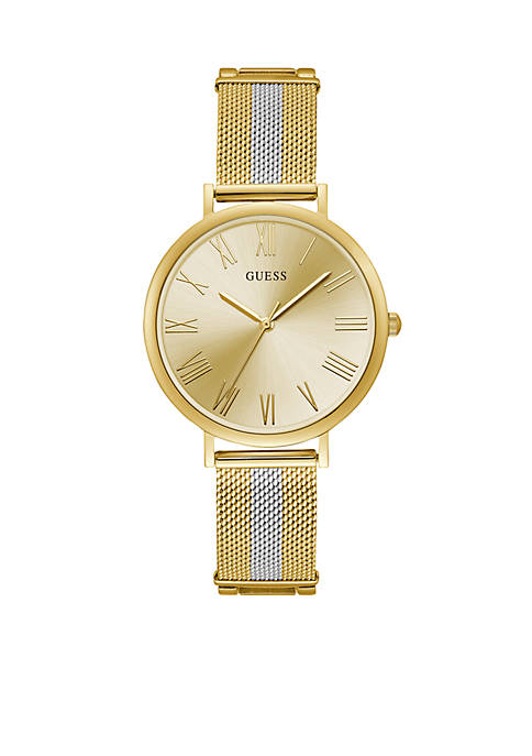 Gold-Tone And Steel Stripe Mesh Bracelet Watch