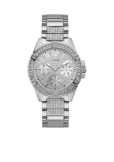 GUESS® Silver-Tone And Crystal Statement Watch