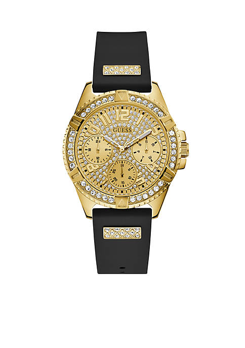 Lady Frontier Silicone Gold Case Crystal Dial Watch