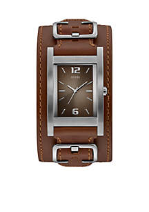 Rectangular Silver-Tone And Brown Cuff Watch