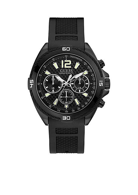Black Textured Silicone Strap Watch