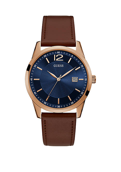 Rose Gold-Tone Stainless Steel Classic Style Leather Strap Watch