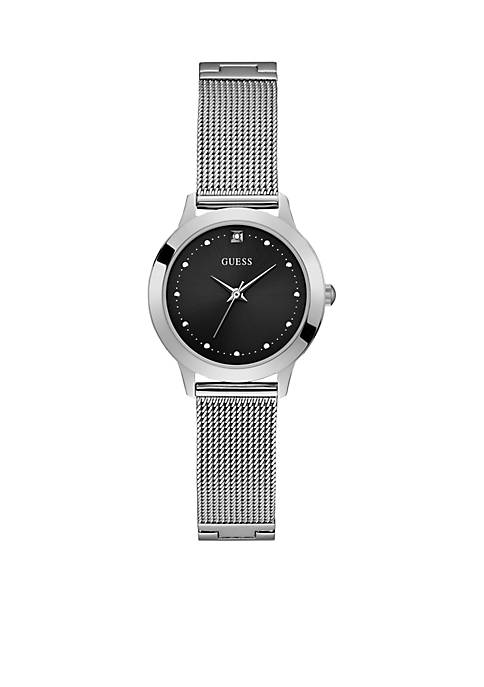 Black Diamond Dial Mesh Bracelet Watch