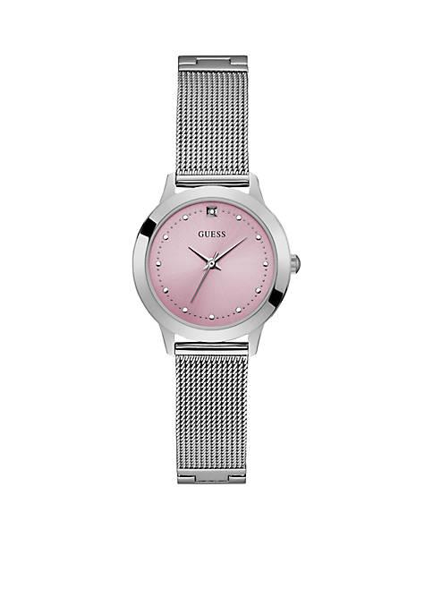 GUESS® Pink Diamond Dial Mesh Bracelet Watch