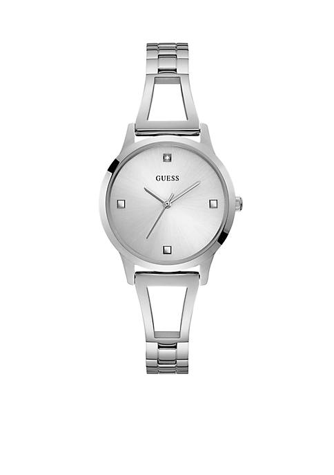 Lucy Silver Bangle Diamond Silver Dial Watch