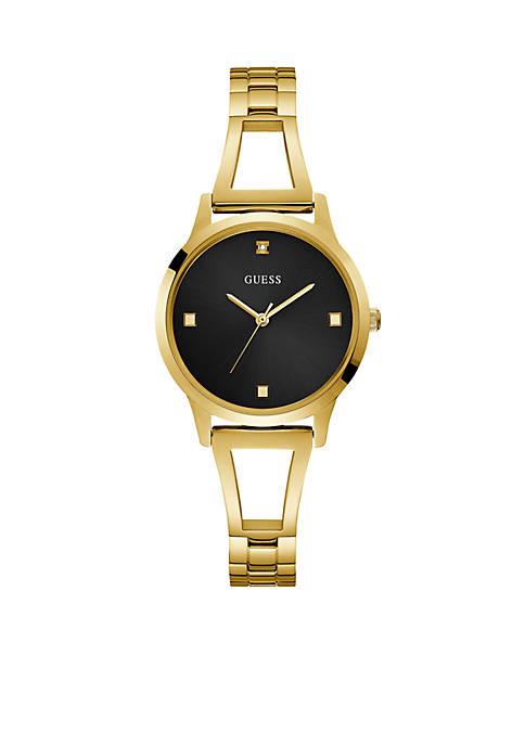 Lucy Gold Bangle Diamond Black Dial Watch