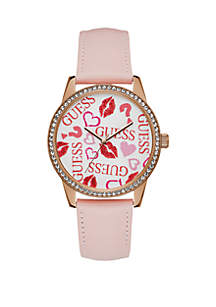Rose Gold-Tone And Pink Leather Strap Watch