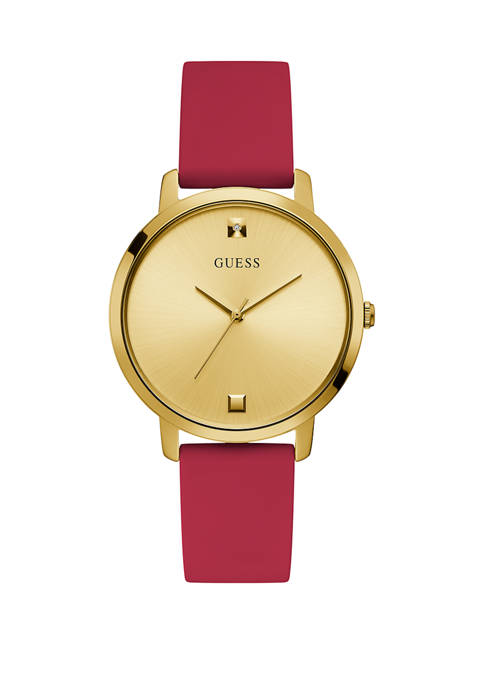 GUESS® Womens Nova Red Gold Dial Watch
