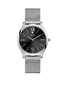 Black Diamond Dial Stainless Steel Mesh Bracelet Watch