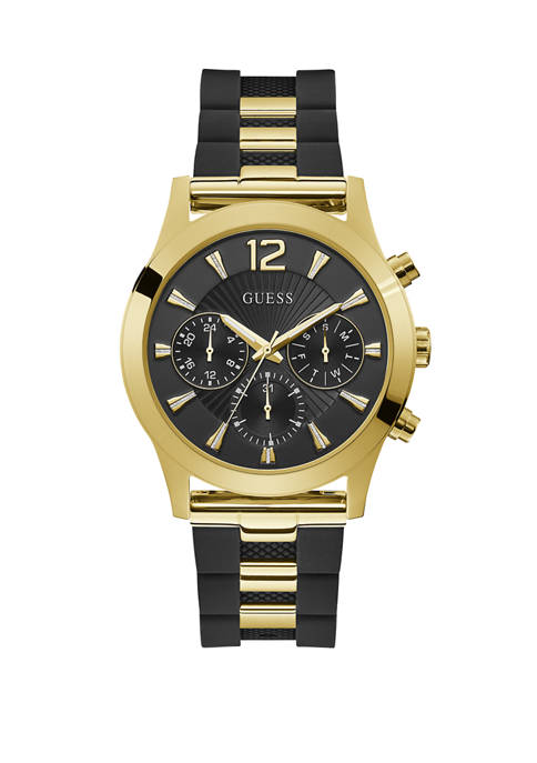 GUESS® Womens Gold-Tone Black Rubber Strap Watch