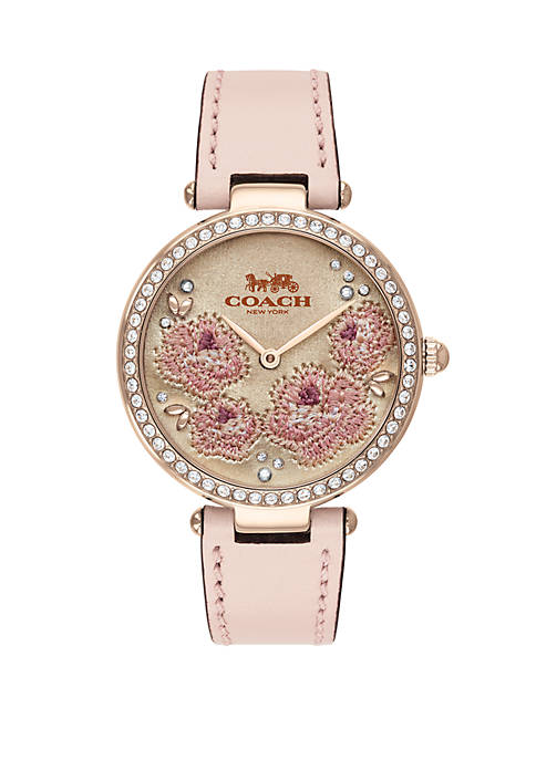 Park Leather Stap with Floral Embroidered Dial Watch