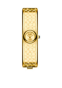COACH Women's Gold-Tone Signature C Bangle Watch