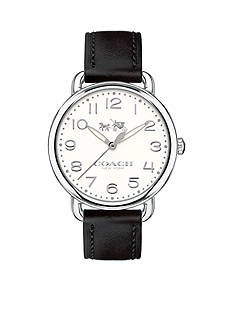 COACH Women's Delancey Stainless Steel Sunray Dial Leather Strap Watch