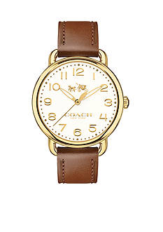 COACH Women's Delancey Gold-Tone Sunray Dial Leather Strap Watch