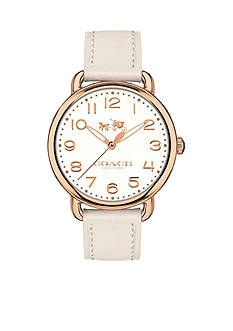 COACH Women's Delancey Rose Gold-Tone Sunray Dial Leather Strap Watch
