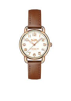 COACH Rose-Gold Tone Delancey Leather Strap Watch