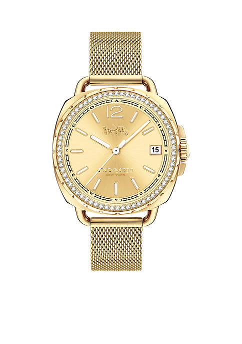 COACH Tatum Gold-Tone Sunray Dial Mesh Bracelet Watch